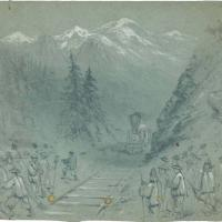 Railroad Pass with Chinese Workers